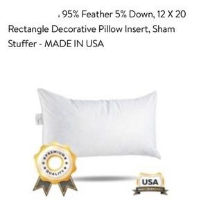 """2 Feather & Down Cushion Inserts 12"""" x20"""" NEW!!!"""
